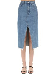 3X1 Elizabella Cotton Denim Midi Skirt Light Blue