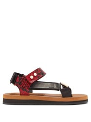 Joseph Tri Colour Python Effect Leather Sandals Red White