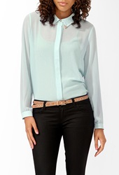 Forever 21 Sheer Longline Shirt Mint Gold