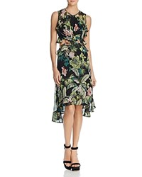 Guess Natalie Botanical Ruffled Cutout Dress Black Combo