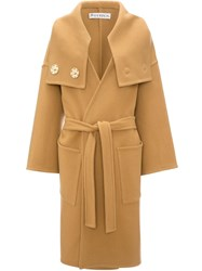 J.W.Anderson Jw Anderson Wrap Coat With Oversized Collar Brown