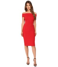 Yigal Azrouel Off Shoulder Mechanical Stretch Dress Cardinal Red