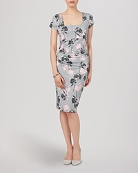Phase Eight Dress Eden Cap Sleeve Grey And Pink