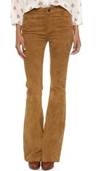 Paige High Rise Suede Bell Canyon Pants Saddle Brown