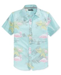 Ocean Current Men's Sea Sublimated Short Sleeve Shirt Blue Cerulean