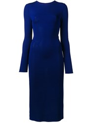 Esteban Cortazar Fitted Cut Out Dress Blue
