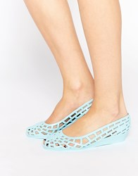 Juju Christabel Cut Out Jelly Flat Shoes Blue