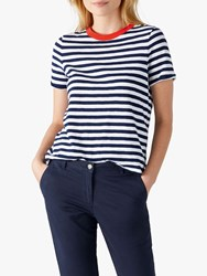 Pure Collection Soft Cotton Jersey Stripe T Shirt Navy White