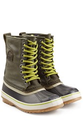 Sorel 1964 Premium Rubber Leather And Canvas Short Boots Green