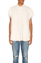 R 13 R13 Oversized Cut Off Shirt In White