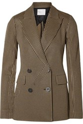 Rosetta Getty Double Breasted Houndstooth Jacquard Knit Blazer Brown