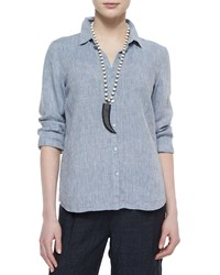 Eileen Fisher Long Sleeve Button Front Linen Shirt Chambray