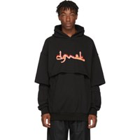 D.Gnak By Kang.D Black Double Layered Logo Print Hoodie