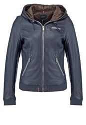 Oakwood Leather Jacket Navy Blue Dark Blue