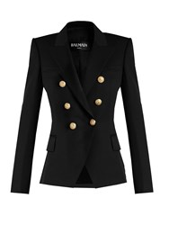 Balmain Double Breasted Wool Jacket Black