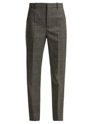 Balenciaga Prince Of Wales Check Wool Trousers Grey Multi