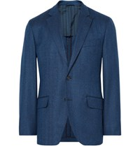 Hackett Blue London Slim Fit Herringbone Wool Blazer Blue