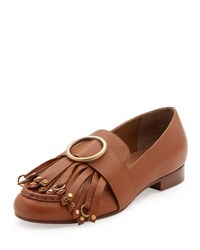 Chloe Olly Leather Kiltie Loafer Brown