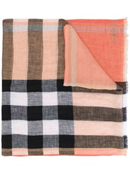 Burberry House Check Scarf Men Linen Flax One Size Yellow Orange