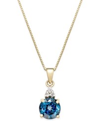 Macy's Blue Topaz 1 3 4 Ct. T.W. And Diamond Accent Pendant Necklace In 14K Gold Yellow Gold