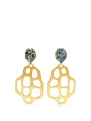 Marte Frisnes Avalon Quartz And Gold Plated Earrings Blue