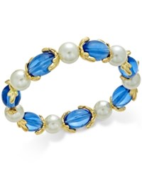 Charter Club Gold Tone Imitation Pearl And Aqua Stone Stretch Bracelet Only At Macy's Blue
