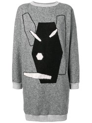 Julien David Embroidered Sweater Dress Grey