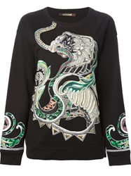 Roberto Cavalli Lion And Snake Applique Embroidered Sweatshirt Black