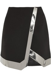 Thierry Mugler Mirrored Faux Leather Trimmed Wool Crepe Mini Skirt