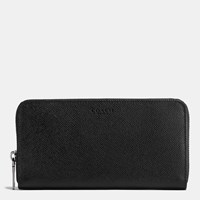 Coach Accordion Wallet In Crossgrain Leather Black