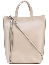 Elena Ghisellini Side Zip Tote Bag Women Leather One Size Nude Neutrals