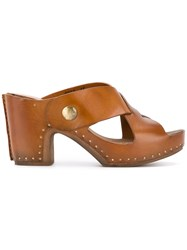Silvano Sassetti 'La Vie En Rose' Platform Sandals Women Leather Wood 37 Brown