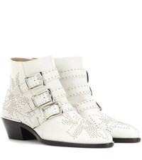 Chloe Susanna Studded Leather Ankle Boots White