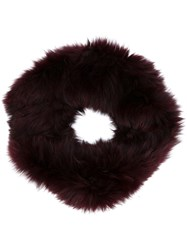 Plein Sud Jeans Fox Fur Scarf Red
