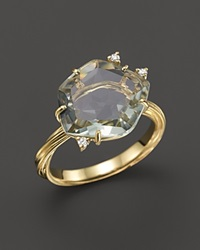 Vianna Brasil 18K Yellow Gold Ring With Prasiolite And Diamond Accents Green Gold