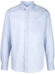 Officine Generale Textured Long Sleeved Shirt Blue