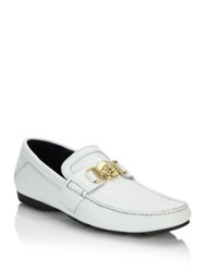 Versace Vanitas Stitched Leather Loafers White Gold