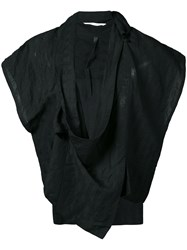 Barbara I Gongini Sleeveless Wrap Jacket Women Linen Flax Modal 36 Black