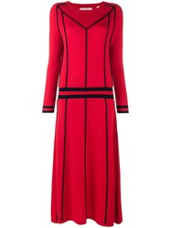 Chinti And Parker Contrast Sweater Midi Dress Red