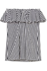Mds Stripes Ray Off The Shoulder Ruffled Striped Cotton Jersey Top Navy Gbp