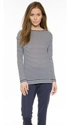 The Lady And The Sailor Side Slit Crew Neck Pullover Navy Stripe