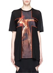 Givenchy 'Fauno' Cross Print Cotton T Shirt Black