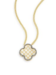 Freida Rothman Mother Of Pearl Caged Clover Pendant Necklace Gold