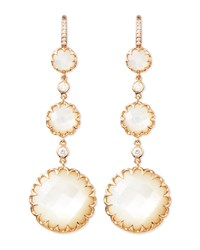 Long Rose Gold Mother Of Pearl Drop Earrings With Diamonds Ivanka Trump Pink