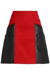Coach Flared Leather And Brushed Wool Blend Mini Skirt Crimson