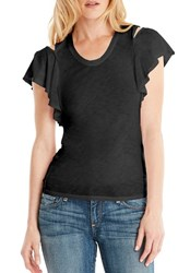 Michael Stars Women's Cutout Shoulder U Neck Tee Black