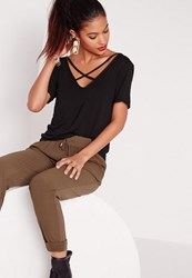 Missguided Tall V Neck Cross Strap Front T Shirt Black