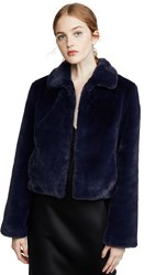 Adrienne Landau Short Faux Fur Jacket Navy