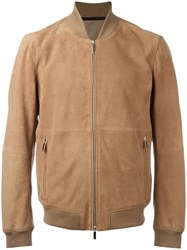 Hugo Boss Front Pocket Bomber Jacket Brown