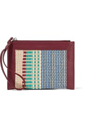 Sandro Paneled Woven And Leather Clutch Mint
